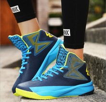 New Air Cushion Damping Men Basketball Shoes women Breathable Outdoor Sports Sneakers High Top Basketball lovers shoes Plus size(China)