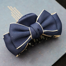 Solid Color Ribbon Bow With Silver Golden Lining Hair Claw Clips For Women Hair Bow Clips Girls Hair Accessories High Quality