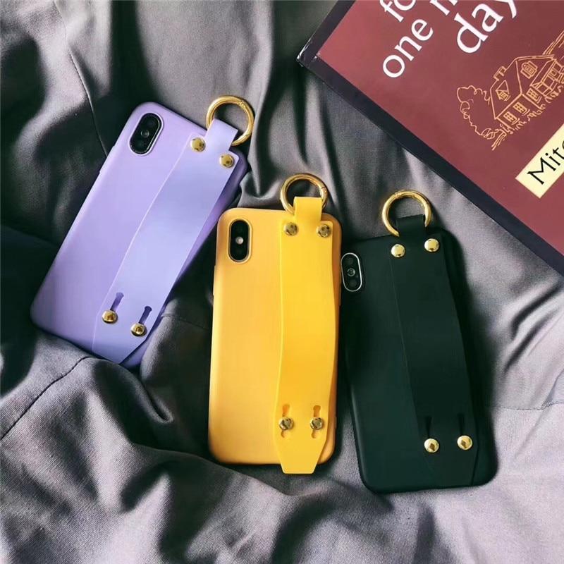 LUDI Vintage Wrist Strap Phone Case for iPhone 7 7Plus Case for iPhone X 6 6s 8 Plus Yellow Purple Black Plain Soft Silicon Capa6