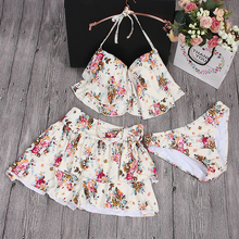 plus new swimsuit romantic sweet swimsuit bikini three beach skirt 3XL