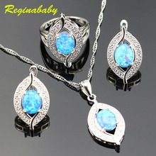 925 Logo Alluring Australia Blue Opal Jewelry Set For Women Silver White Crystal Rings/Earrings/Necklace/Pendant(China)