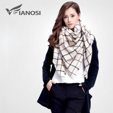 [VIANOSI] Brand Women Winter Plaid Square Knitted Scarf Female Warm Shawls Cotton Scarves VS005(China)