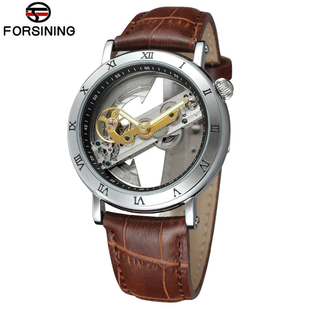 FORSINING Retro Mens Unique New Design See Through Automatic Movement Mechanical Wrist Watch Cool Gift Box Free Ship<br>