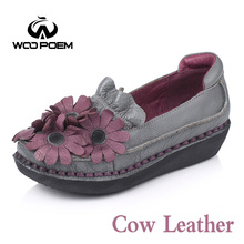 WooPoem Spring Autumn Shoes Women Breathable Cow Leather Flats Comfortable Rubber Slip-On Shoes Casual Red Flower Shoes 6296(China)