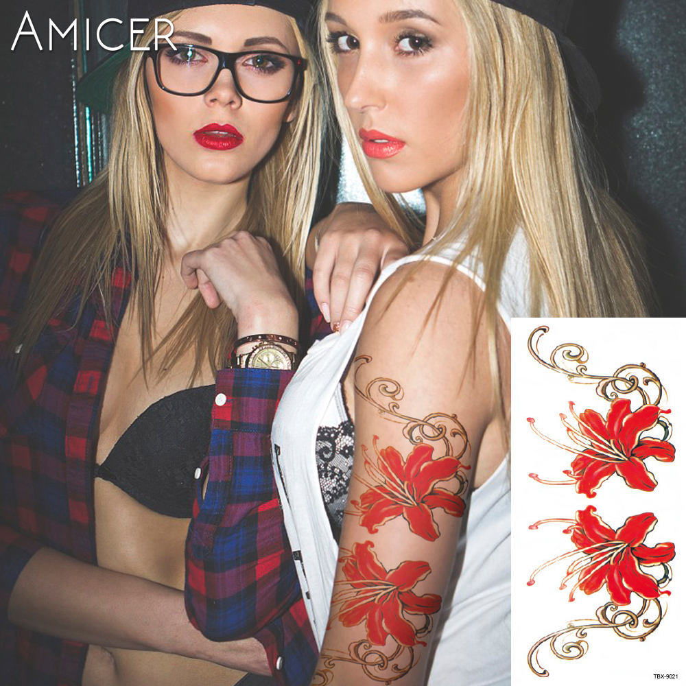 3D lifelike Cherry blossoms rose big flowers Waterproof Temporary tattoos women flash tattoo arm shoulder tattoo stickers 7