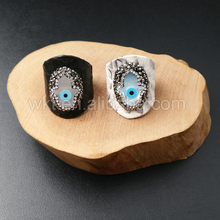WT-R258 Genuine Leather rhinestone paved ring, fashion high quality cigar leather hand charm ring Super star love ring