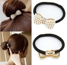 t19 Chic Lovely Pearl Bow Bowknot Hair Band Hair Jewelry Hair Rope Headwear Elastic Hair Accessories  Pearl pin