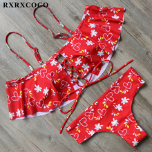 Buy RXRXCOCO 2018 Ruffle Swimsuit Women Sexy Hollow Bikini Printed Red Bikini Set Halter Bandage Swimwear Female Padded Bathing Suit
