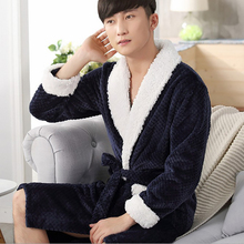2017 New Fashion Men's Solid Color Male Kimono Robe Full Sleeve Shawl Collar Nightwear Flannel Sleep Lounge Robes Bath Robe Men