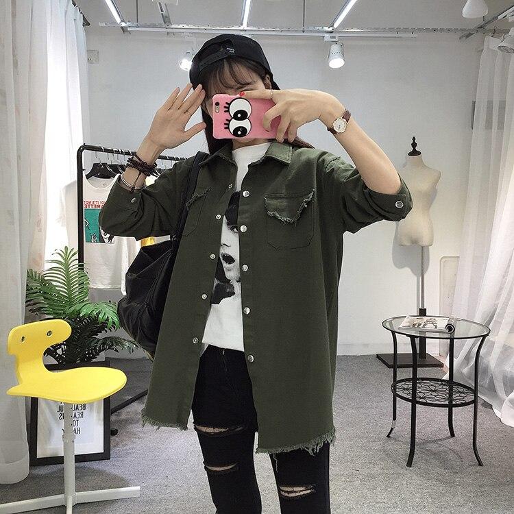 2018 Spring Autumn New Long Section Lapel Tassel Denim Jackets Women Loose Casual Long Sleeve Female\'S Thin Basic Jacket Coats (19)