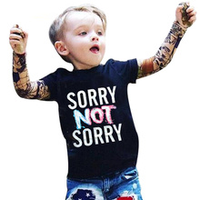 DSY201 Summer T-shirt cotton boys clothing casual child children's clothing tattoo printing long-sleeved T-shirt kids kids top