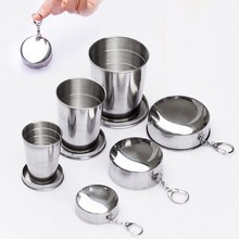 75ml 140ml 240ml Folding Wine Cup Beer Cup Stainless Steel Wine Portable Wine Set Outdoor Drinkware sets Multi Key Chains(China)