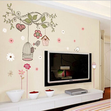 High Quality ! Free Shipping Happy Bird Cage Tree DIY Removable Wall Stickers Mural Parlor Kids Bedroom Home Decor House DLX509(China)