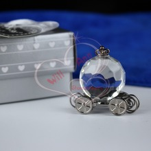 12pcs/lot Crystal Pumpkin Coach Favors Crystal Carriage Baby Shower Wedding Favors Party Gifts