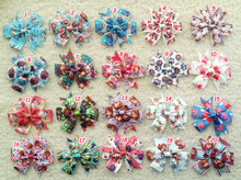 "100pcs  3.5"" kid  Snow White Monster High princess littlest pet shop Doc Mcstuffins ribbon hair bow clip accessories"