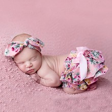 Floral Bow Baby Bloomer Headband set Girl Diaper Covered Tutu Ruffled Panties Infant Shorts Culottes bebe Newborn Photo Props