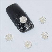 10psc New Rhinestone Silver shells 3D Nail Art Decorations,Alloy Nail Charms,Nails Rhinestones  Nail Supplies #540