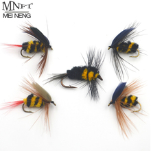 MNFT 30Pcs/Pack 5 different kinds Bumblebee Dry Flies, Fly Fishing Flies Artificial Bait Trout Lures with Free Box Packing(China)