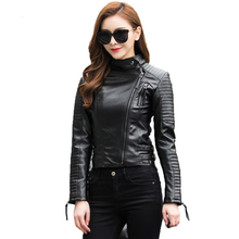 New 2018 Autumn Women 쿨 펑크 Leather Jacket Soft PU Faux Leather 암 블루종 Basic Bomber Motorcycle Leather 코트 암(China)