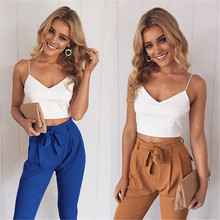 2017 Autumn Long Trousers Women Pencil Pant Bow Camis Tops + Pants 2 Pcs Lady OL Pants Capri 2 Pieces Women Clothing NQ819820(China)
