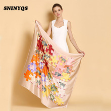 110 cm Fashion Silk Twill Scarf Shawls Sexy Real Silk Scarf Women Long 100% Silk Scarf Square Female Beach Cover-ups Pre-design