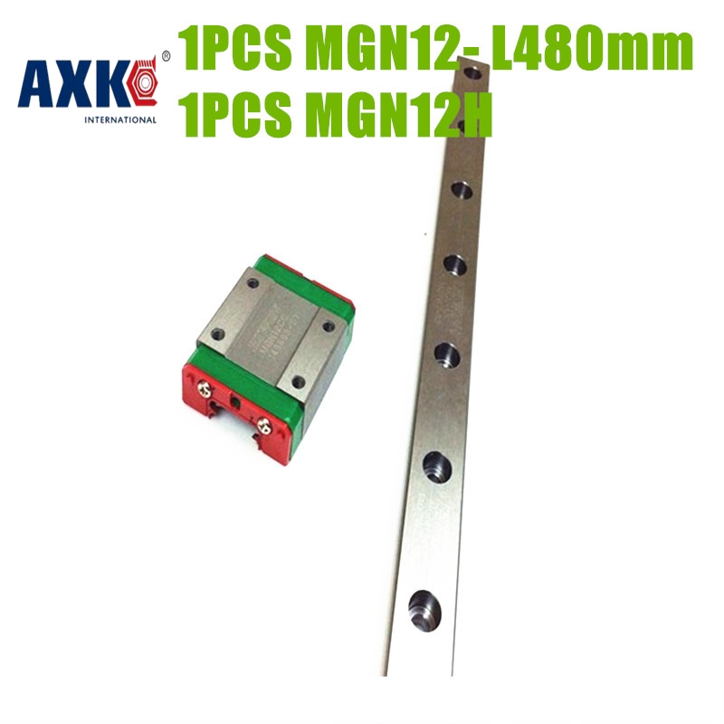 AXK free shipping linear rail 480mm MGN12 + 1pc MGN12H block made in china Linear rail guides<br>