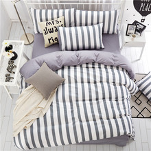 Home Textiles,Gray And White Stripes Style 100%Cotton Bedding Sets 4Pcs Duvet Cover Bed Sheet Pillowcase King Queen Full Twin