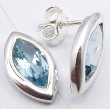 Pure Silver Sparkling BLUE Topas Cute Lightweight s Post Earrings 1.5CM1 Pair of Earring(China)