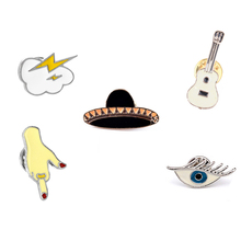 2017 New Hat decoration Guitar Fingers eye lightning cloud Enamel Pin Badge Metal Girls Jeans Bag Gift Fashion Jewelry Wholesale