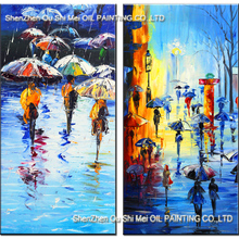 Skill Painter 100% Handmade Street Rain Landscape Oil Painting on Canvas for Living Room Decor Good Quality Painting Wall Art