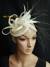 NEW Cream/ivory sinamay feather fascinator bridal fascinator hair accessory for Kentucky derby and wedding . FREE SHIPPING