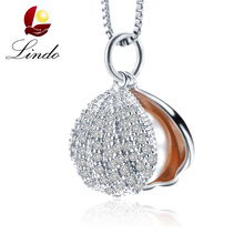 Zircon Shell Pearl Jewelry Pearl Pendant Necklace Freshwater Pearl 925 Sterling Silver Choker Necklace Women Statement Pendant(China)