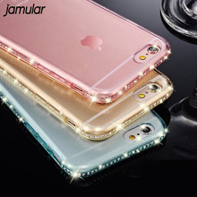 Buy JAMULAR Bling Silicone Soft Diamond Cases iPhone X 8 7 6 6s Plus Clear Crystal Rhinestone Back Cover Phone Bags Capa Fundas for $2.09 in AliExpress store