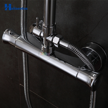 Buy Bathroom Shower Mixer Chrome Finished.Shower Faucet.Wall Mounted Shower Valve Mixer Tap Thermostatic Faucet for $63.18 in AliExpress store