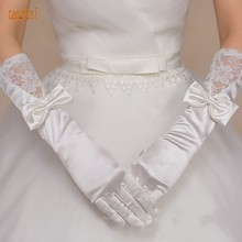 Ivory Satin Long Wedding Gloves Finger Length Bow Lace Bridesmaids Gloves Bridal Gloves Wedding Accessories(China)