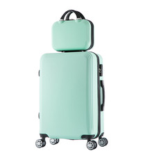 2 pcs/Set 14-inch cosmetic bag 20 inch students Travel luggage trolley case a woman rolling suitcase valise bagages roulettes(China)