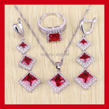Square Shaped 925 Sterling Silver Red Garnet Jewelry Sets For Women AAA Zircon Rings/Pendant/Earrings/Necklace Free Gift Box