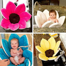Baby Bath Mat Cute Flower Shape Blooming Super Soft Plush Lotus Bathing Tube floral bathtub for kids