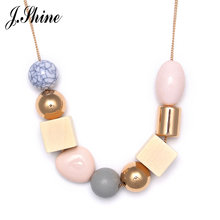 JShine Candy Color Romantic Geometric Wood & Stone Beads Long Necklaces for Women Gold Color Chain Decoration Charming Necklace