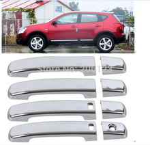 For 2008 -2013 QASHQAI New Chrome Door Handle Cover with Passenger keyhole Fast air ship