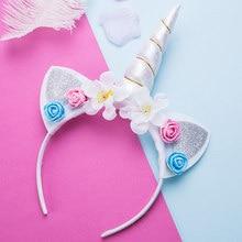 Новый обувь для девочек милый Единорог Цветок ободки с кошачьими ушками  детей головные уборы фото реквизит fff83219cbb74