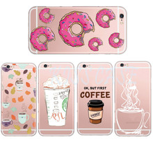 Transparent TPU Case Cover for iPhone 6 6s7 Plus Macaron Coffee Cup Mandala Pattern Phone Cases Silicone Back Cover Coque Shell