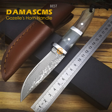 High quality, Stainless Steel + horns Handle , Damascus Hunting Knife