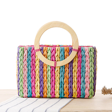 Vertical stripes of colorful wooden handle handbags trunk straw tote bolsa feminina drop shipping women bag