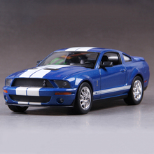 Diecast Model Mustang GT500 Blue 1:24 Alloy Car Metal Racing Vehicle Play Collectible Models Sport Cars toys For Gift