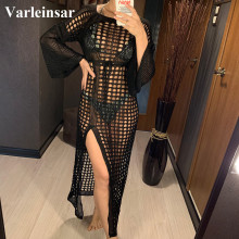 Crochet-Tunic Beachwear Cover-Up Knitted Swimsuit Long-Dress Sexy Hollow-Out Women Summer