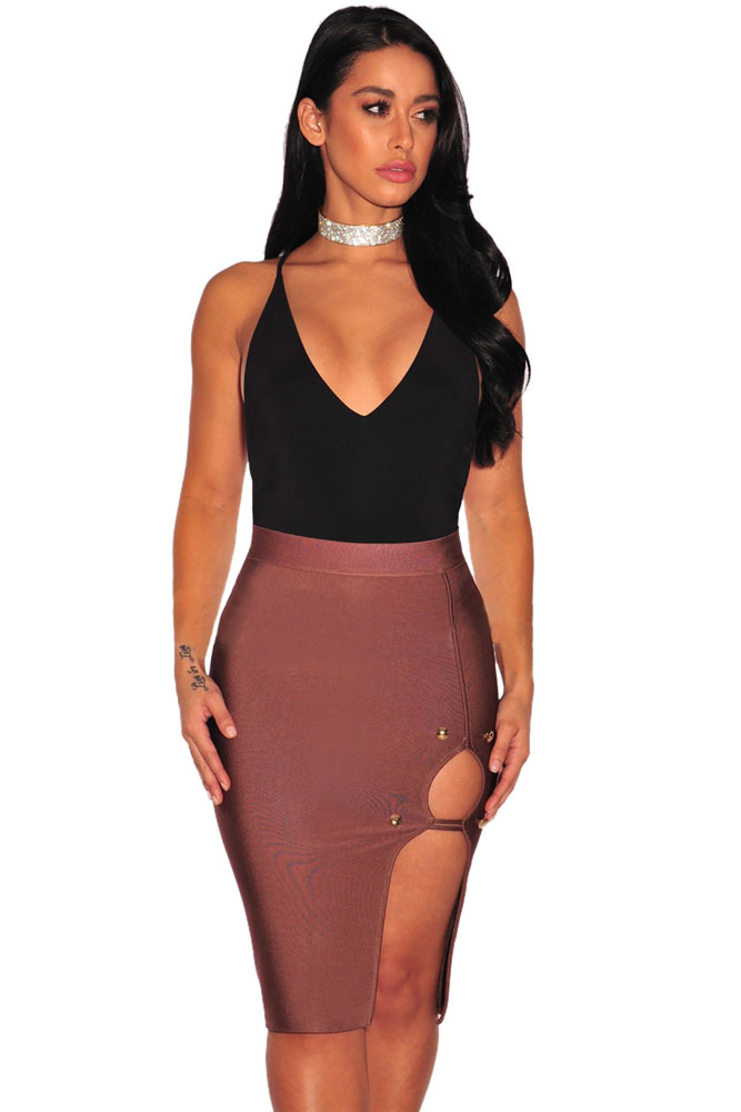 Peach-Gold-Button-Slit-Bandage-Skirt-LC28457-11-1