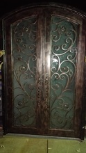 Custom design Wrought Iron Entry Double Doors Wrought Iron Entry Doors id-53(China)