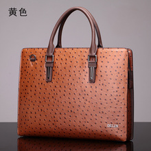 Delin ostrich pattern leather handbag handbag shoulder bag fashion men's business package briefcase men's leather cross section