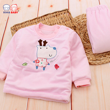 Soft 100% Cotton Unisex Baby Clothes Boys Baby Girls Clothing Set Toddler infant Long Sleeve Winter Thickening Baby Pajamas(China)